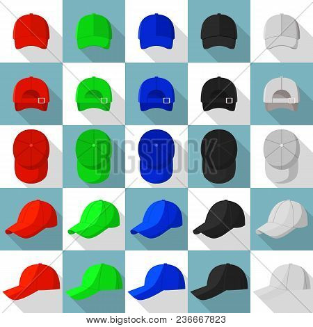 Baseball Cap Views Icons Set. Flat Illustration Of 25 Baseball Cap Views Vector Icons For Web