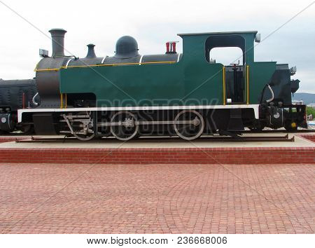 An Old Green Classic Steam Train , The First Steam Train First Operated In 1804