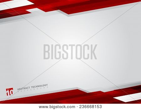 Abstract Technology Geometric Red Color Shiny Motion Background. Template With Header And Footer For