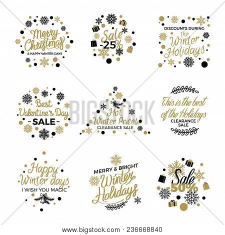 Best Winter Christmas And Valentine Discount Tags Decorated With Hand Written Text In Round, Triangu