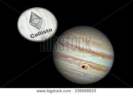 Coin Callisto Is Flying In Space Near Jupiter. Cryptocurrency Clo. Elements Of This Image Furnished