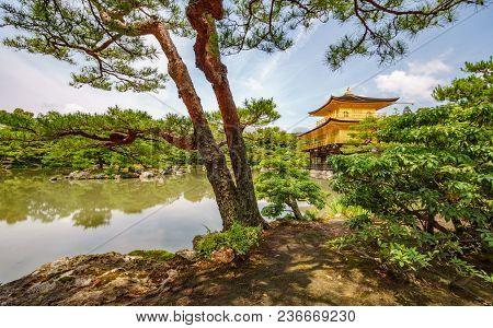Kyoto, Japan- June 7, 2015 : Kinkakuji Temple Golden Pavilion Behind Trees And Pond, The Popular Zen