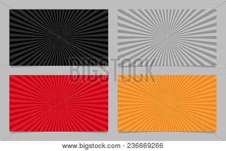 Colored Abstract Ray Burst Card Background Template Set