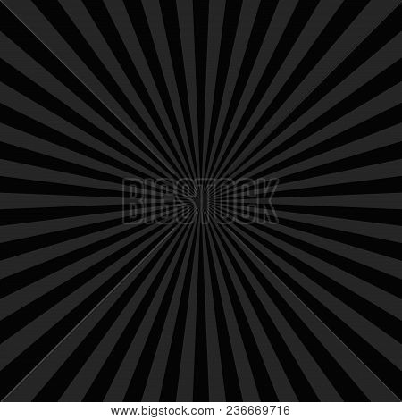 Black Abstract Ray Burst Background - Comic Vector Graphic With Radial Stripe Pattern