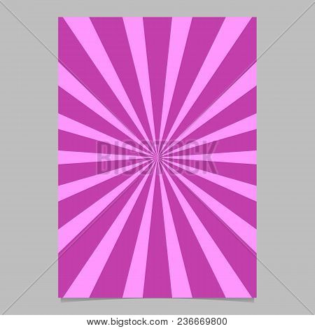 Retro Abstract Ray Burst Page Template - Vector Brochure Background Design With Radial Stripe Patter