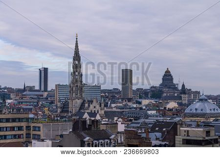 Beautiful Cityscape With Clouds And Buildings In The Evening , Bruxelles, Belgium