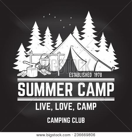 Summer Camp On The Chalkboard. Vector Illustration. Concept For Shirt Or Print, Stamp Or Tee. Vintag