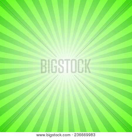 Abstract Ray Burst Background - Green Motion Vector Graphic Design From Striped Rays
