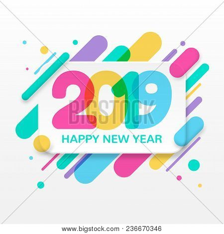 2019 Happy New Year Greeting Card With Abstract Colored Rounded Shapes Lines In Diagonal Rhythm. For