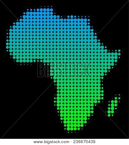 Halftone Circle Dot Africa Map. Vector Territorial Map In Green-blue Gradient Colors On A Black Back