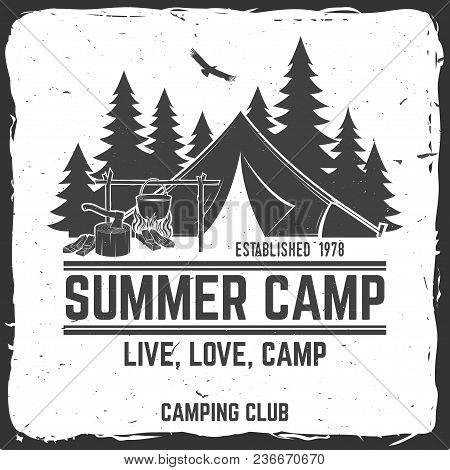 Summer Camp Badge. Vector Illustration. Concept For Shirt Or Print, Stamp, Travel Badge Or Tee. Vint