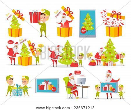 Merry Christmas Best Presents. Collection Of Cartoon Xmas Pictures With Santa Claus And Gnome Packin