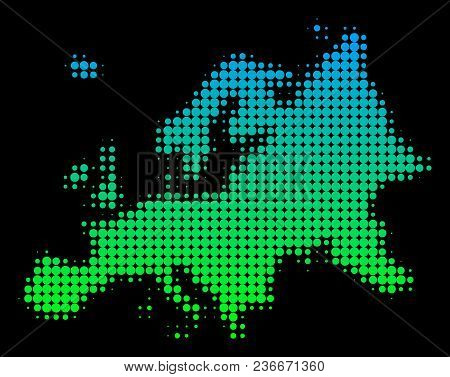 Halftone Round Dot Europe Map. Vector Territory Map In Green-blue Gradient Colors On A Black Backgro