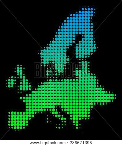 Halftone Round Dot European Union Map. Vector Territorial Map In Green-blue Gradient Colors On A Bla