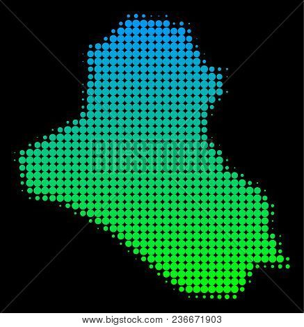 Halftone Round Blot Iraq Map. Vector Territorial Map In Green-blue Gradient Colors On A Black Backgr