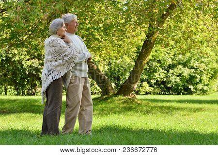 Portrait Of Beautiful Caucasian Senior Couple In Park