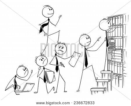 Cartoon Stick Man Drawing Conceptual Illustration Of Businessman Climbing Up Backs Of His Teammates