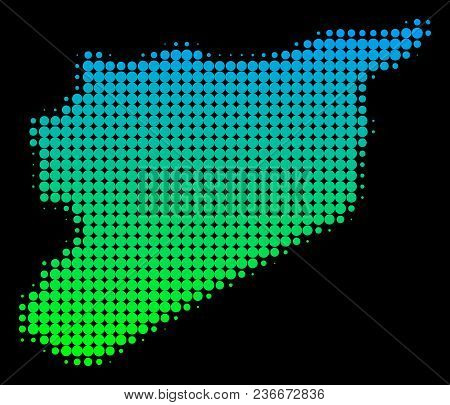 Halftone Circle Spot Syria Map. Vector Territory Map In Green-blue Gradient Colors On A Black Backgr