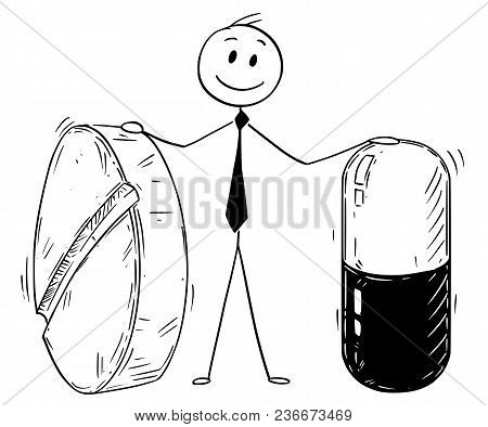 Cartoon Stick Man Drawing Conceptual Illustration Of Businessman Holding Two Big Pills. Business Con