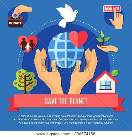 Charity Background Concept With Human Hands Globe Symbol And Different Charitable Giving Pictograms
