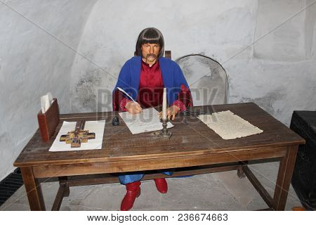 Baturyn / Ukraine. 22 July 2017:wax Figure Of Old Clerk In Museum Of Baturin. Portrait Of Historical