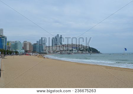 An Image Of Haeundae Beach Located In Busan, South Korea Captured On October 5, 2013.