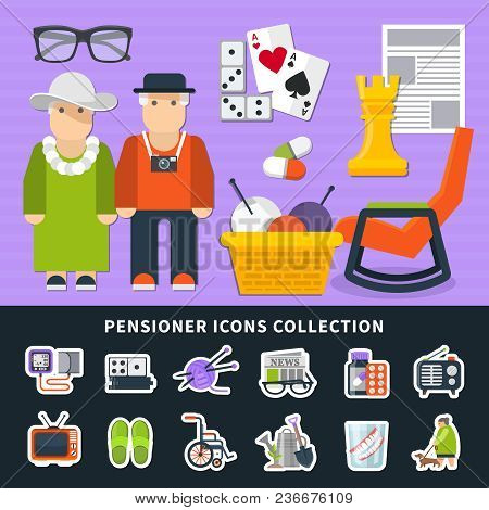Pensioner Flat Colored Icon Set With Figures Of People And Their Equipment Vector Illustration
