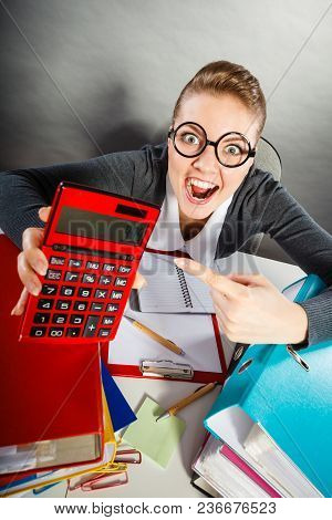 Calculations And Results Concept. Woman In Office Calculate Company Finance. Businesswoman With Big
