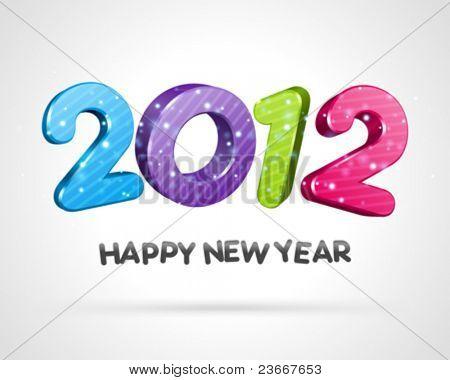 Feliz ano novo 2012 mensagem vector fundo 3d. 10 EPS.