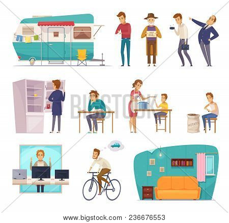 Social Classes Decorative Icons Set With Rich  Poor Needy Pauper People In Home Interior And Outdoor