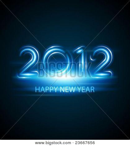Mensagem de feliz ano novo 2012 de fundo vector de néon. 10 EPS.