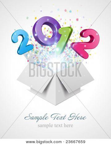 3D feliz ano novo mensagem 3d 2012 voar de fundo vector para abrir a caixa. 10 EPS.