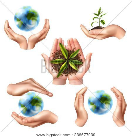 Set Of Ecology Symbols With Realistic Female Hands, Globe And Green Sprout In Ground Isolated Vector