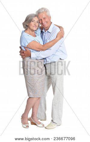 Portrait Of Happy Senior Couple Isolated On White Background
