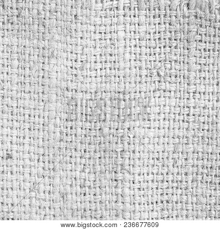 Black And White Hemp Sack Texture Pattern Creative Abstract Background.