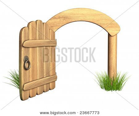 Opened old wooden door. Object isolated over white