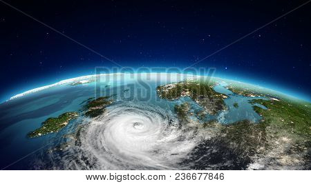 North Europe Cyclone. Elements Of This Image Furnished By Nasa. 3d Rendering
