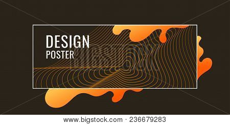 Organic Forms With Dynamic Waves And Lines On A Dark Background. Vector Illustration.
