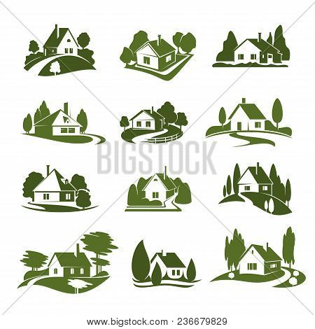 Eco Green House Icon With Tree And Lawn. Green Cottage Silhouette With Garden Plant, Path And Drivew