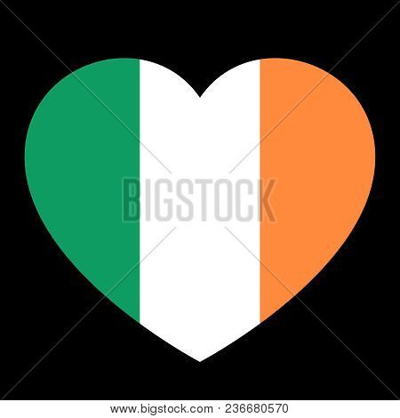 Icon Heart Symbol Of Love On The Background National Flag State Ireland. Vector Illustration.