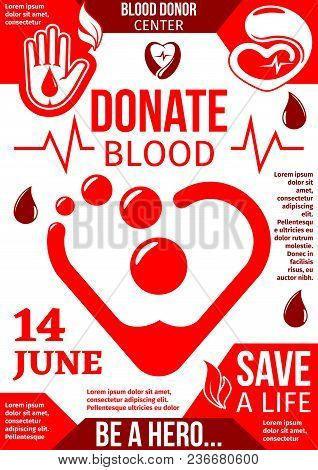 Blood Donor Center Banner With Drop Of Donation Blood. World Blood Donor Day Poster With Red Heart A