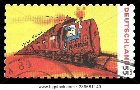 Germany - Circa 2010: Stamp Printed By Germany, Color Edition On Art, Shows Painting Sonderzug Nach
