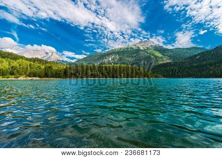 The Blindsee Lake Below The Fernpasses In The Tyrol Region Of Austria.