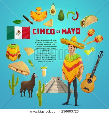 Cinco De Mayo Mexican Fiesta Party Greeting Card For Latin American Holiday Design. Cinco De Mayo Fe