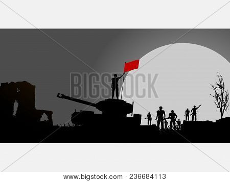 Panel With Silhouette Of Soldiers And A Tank Over Dramatic Background With Big Moon And A Soldier Ho