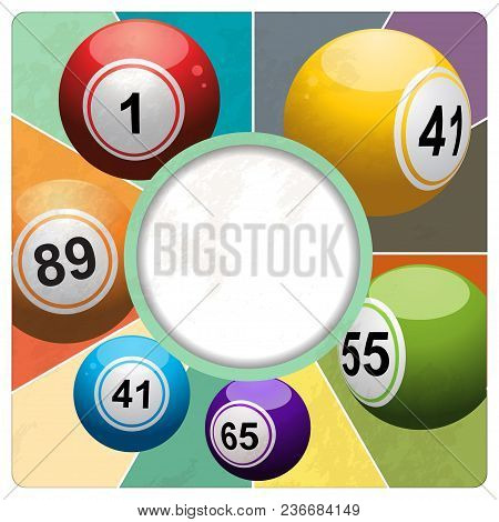 3d Illustration Of Retro Vintage Bingo Lottery Balls With Border Over Colourful Background And Grung