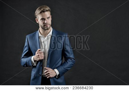 Manager In Formal Outfit. Man In Blue Suit Jacket And Shirt. Businessman With Beard And Stylish Hair