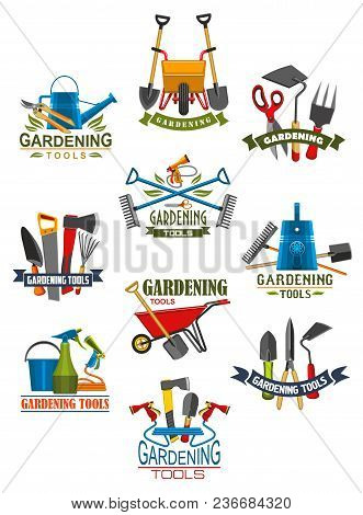 Gardening Tool And Equipment For Garden Work Isolated Icon. Shovel, Rake And Fork, Watering Hose And