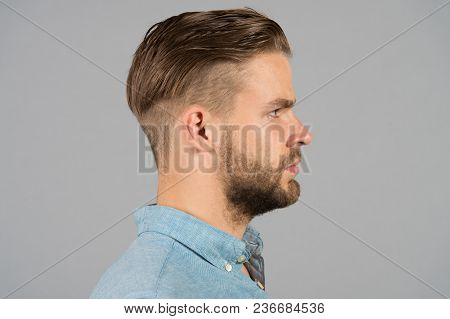 Man With Bearded Face In Profile. Macho With Beard And Mustache. Guy With Stylish Hair And Unshaven