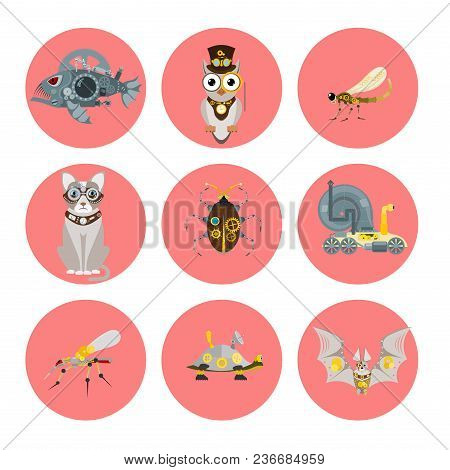 Stylized Metal Steampunk Mechanic Robots Animals Machine Steam Gear Insect Punk Art Machinery Vector